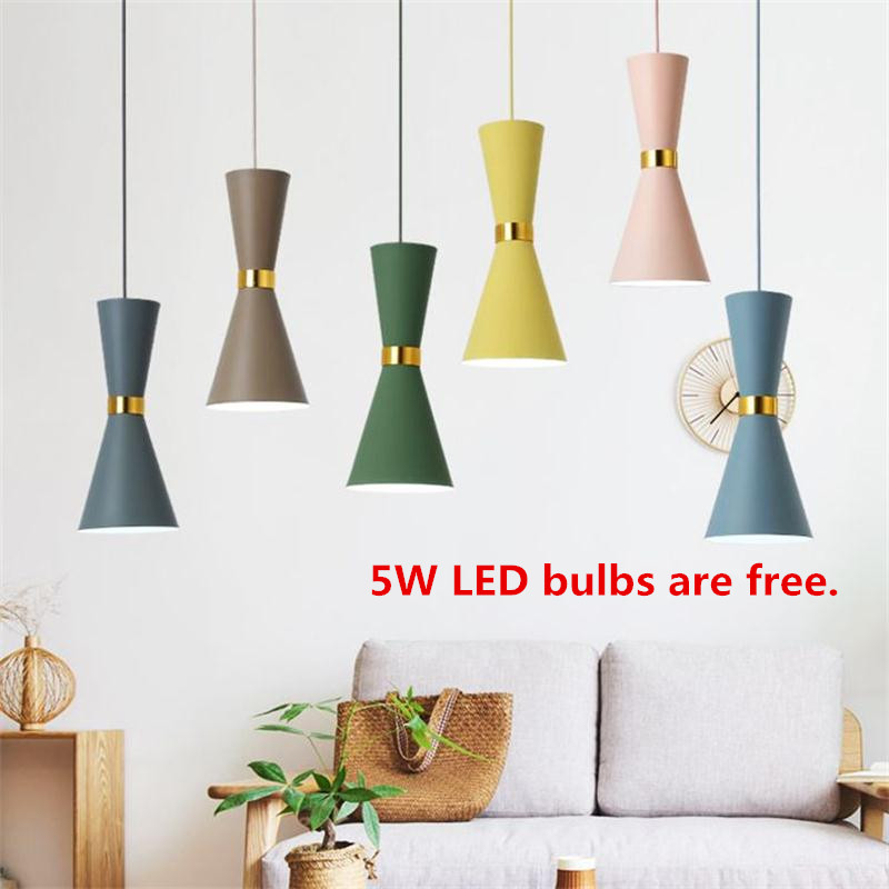 Modern LED E27 Pendant Lights Nordic Art Colorful Droplight Wrought Lamparas Luminaire Home Dining Room Pendant Lighting Fixture american country umbrella pendant lights fixture modern vintage glass single droplight home indoor dining room lighting d25cm