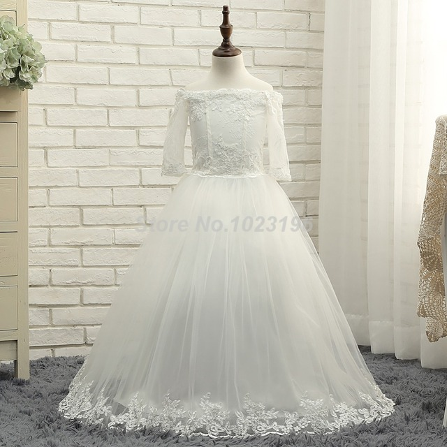ea9db65804 2017 Off Shoulder Lace Applique Floor Length Tulle 3/4 Sleeves Flower Girl  Dresses For