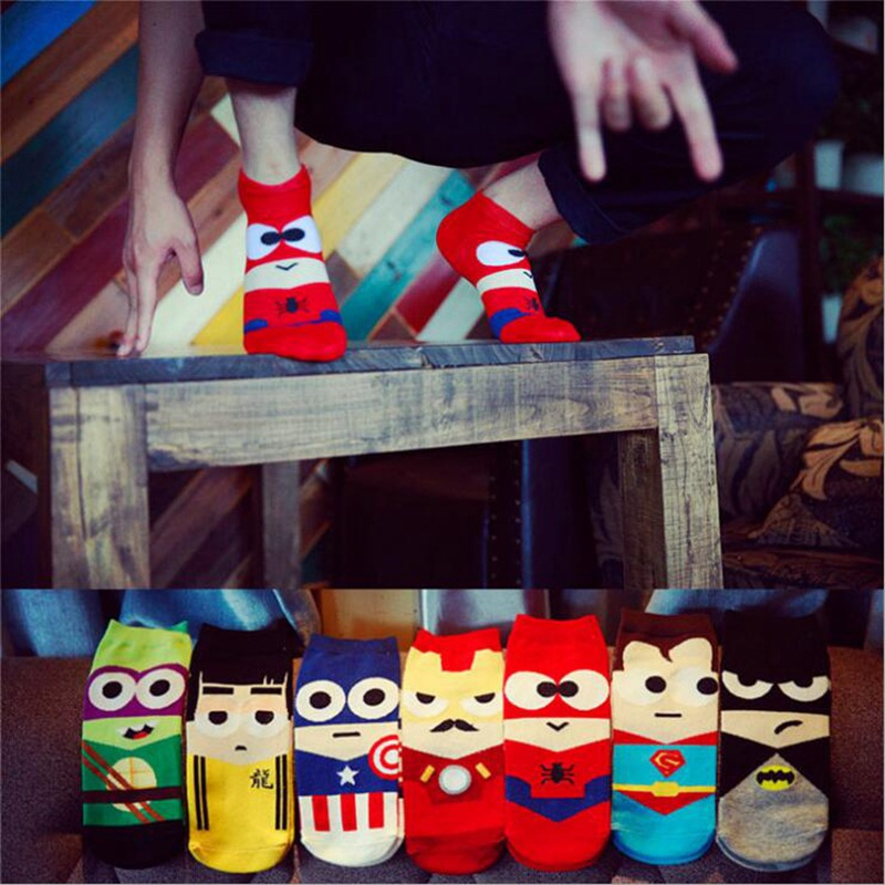 Marvel Heros Boat Socks Superman Batman Captain Arrowman Bruce Lee Character Pattern Superheroes Cotton Happy Socks Funny Socks