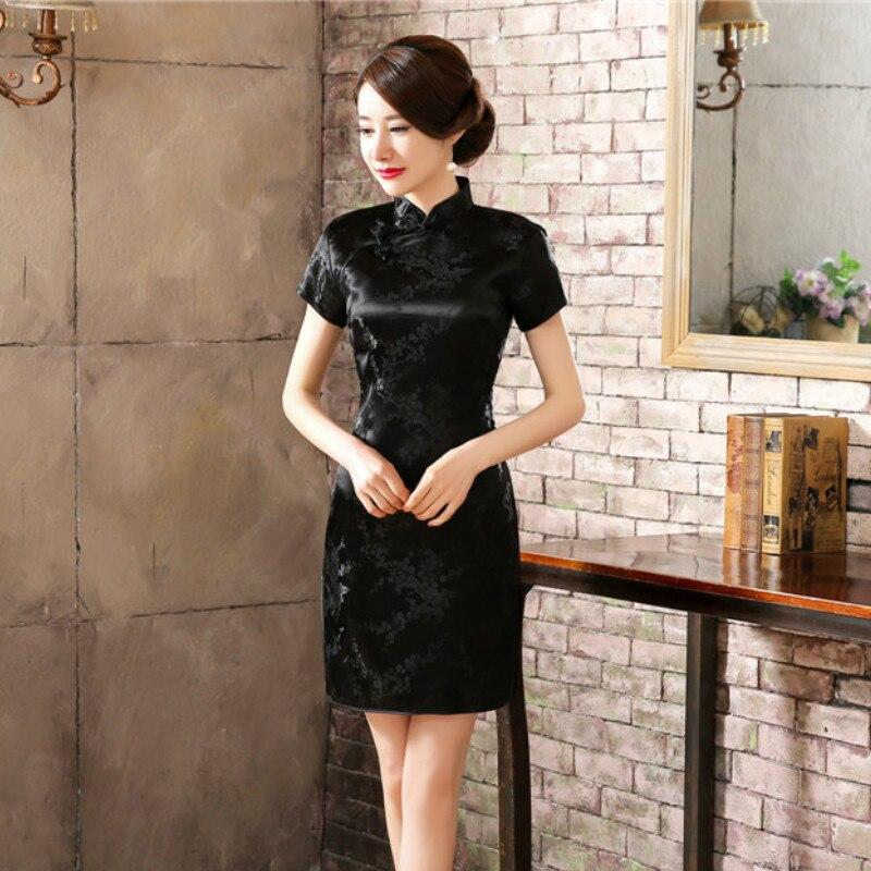 Traditional Chinese Dress Mujer Vestido Women's Satin Long Cheongsam Qipao Flower Size S-6XL  Plum Blossom Qipao