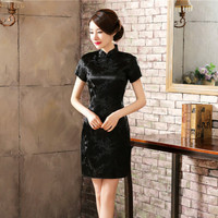 Traditional Chinese Dress Mujer Vestido Women S Satin Long Cheongsam Qipao Flower Size S 6XL Plus