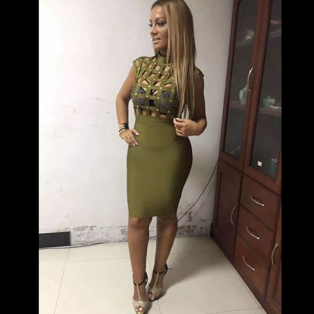 2018 olive green white vestidos sexy net see through women dress cap  sleeveless hollow out Bandage Dresses short Party Dresses a55f4426cd62