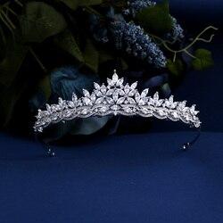 Top Quality Wedding Bridal Bridesmaid flower Cubic Zirconia Girls white plated zircon tiara crown / headband For Prom