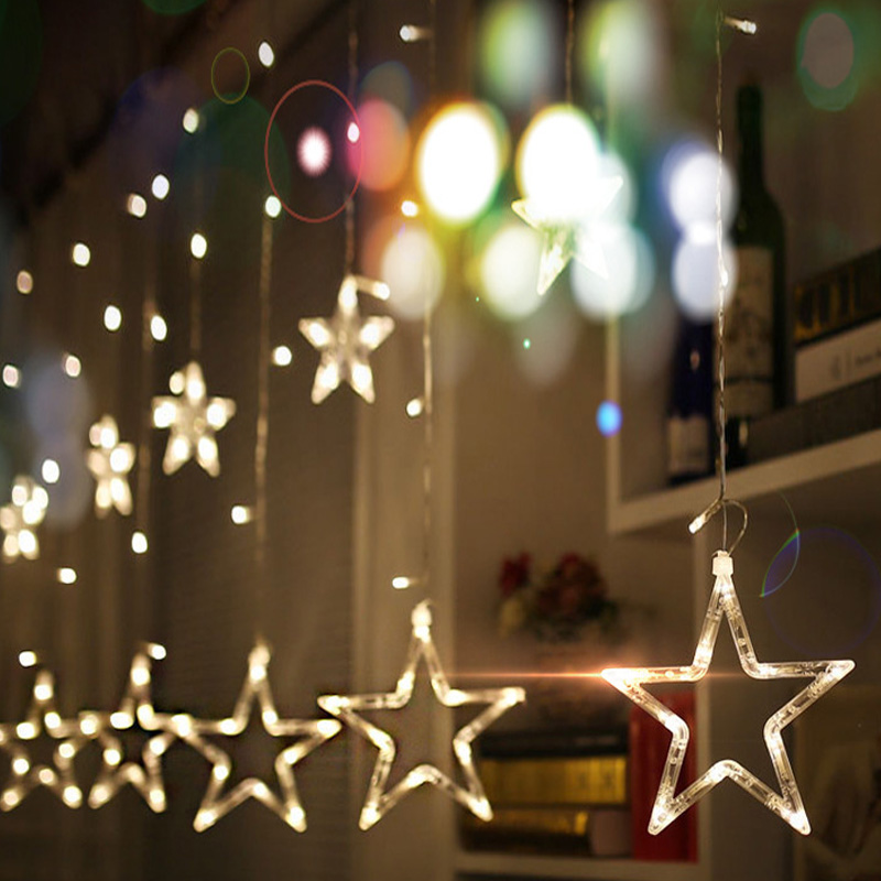 220V EU Plug LED Star Light Christmas Lights Indoor/Outdoor Decorative Love Curtains Lamp For Holiday Wedding Party Lighting
