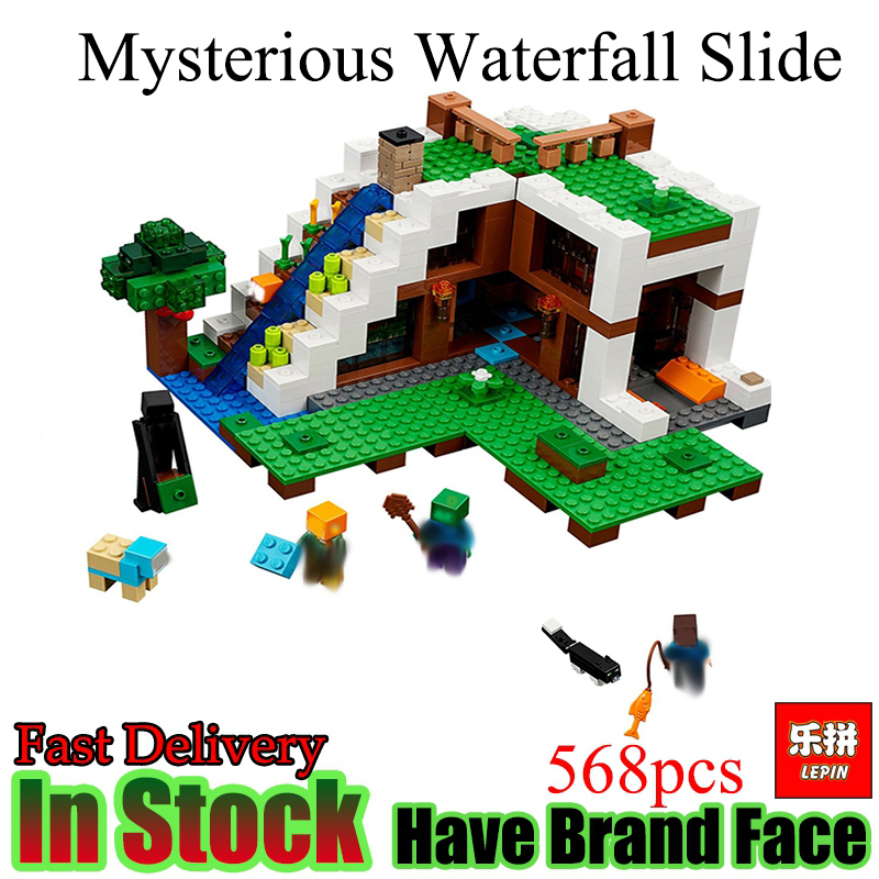Lepin Minecraft 568pcs Mysterious Waterfall hut house My World Building Blocks Bricks Toys For Children gifts Compatible 21134