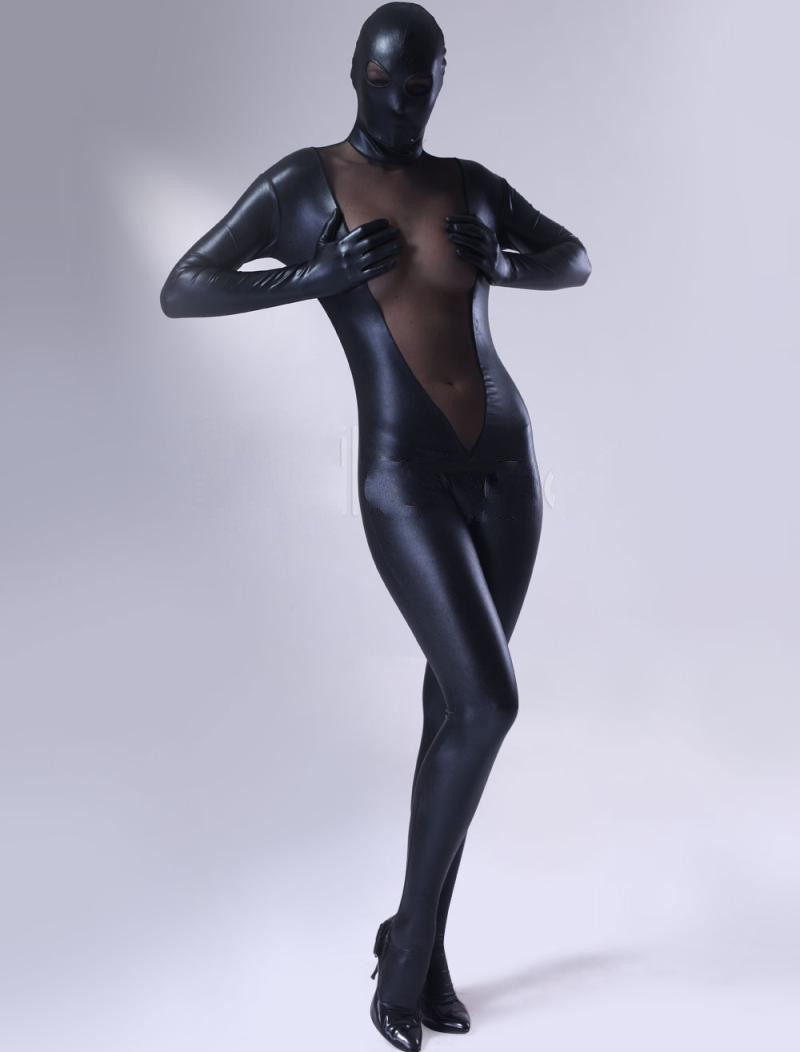 Special price! Zentai Full Body Costume Shiny Metallic Zentai Suit V type black mesh Cosplay Costume Womens Lycra open eye mesh