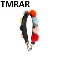 New 2018 Split Leather hair ball mink fur handbag short belt trendy design bags strap bag parts accessory easy matching qn289