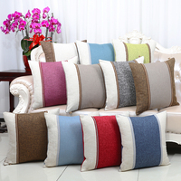 Patchwork Solid Linen Cushion Cover Plain Pillow Cover Square High End Couch Seat Chair Christmas Case Pillow Back Cushion Decor