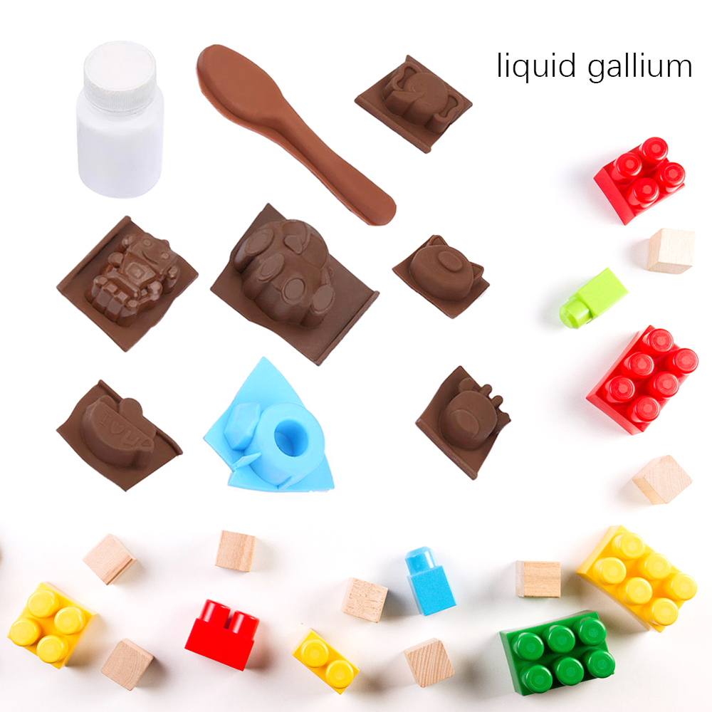 1 Bottle Of  20g Pure Gallium Element With 8 Mold DIY Moulds Harmless For Toy Interactive Tooling Toy Production