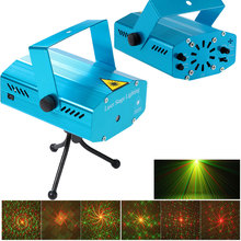 Mini LED Laser Projector Red & Green Stage Lighting Effect Patterns Voice-activated DJ Disco Xmas Party Club Light with Tripod