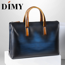 DIMY Handmade Italian Genuine Leather Briefcase Men Business Case OL Style Hand Patina Messenger Shoulder Bags Laptop Mens