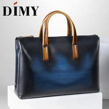 DIMY el yapımı İtalyan hakiki deri evrak çantası erkek iş çantası OL tarzı el Patina Messenger omuz çantaları dizüstü erkek çanta