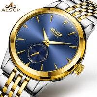 ESOPO Mens Relógios Top Marca de Luxo Relógio Mecânico Automático Dos Homens de Negócios de Aço Completo Relógio do esporte À Prova D' Água Relogio masculino
