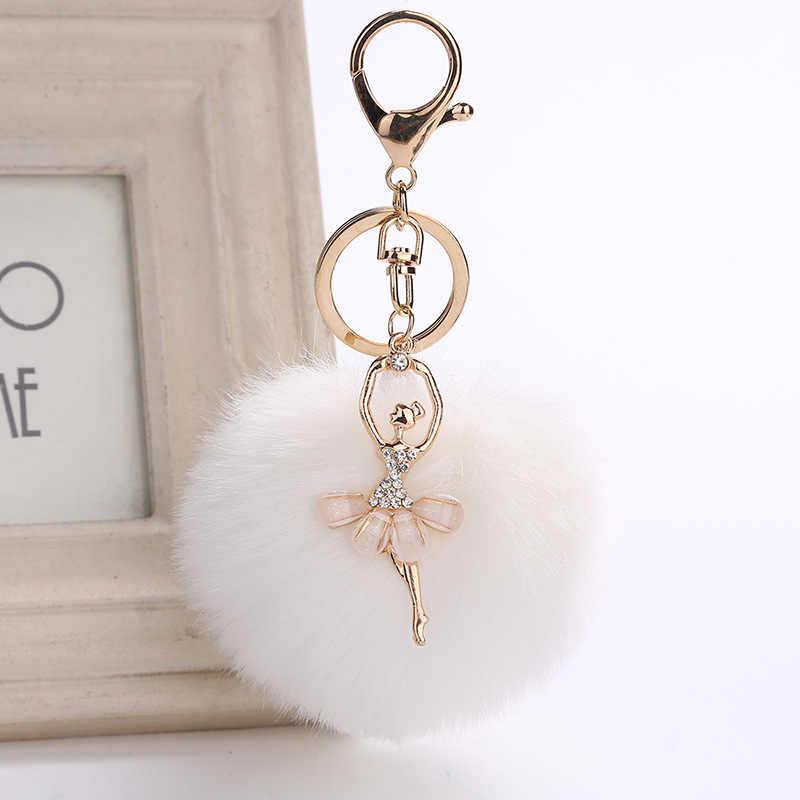 """ZOEBER золотистый брелок для ключей Pom ключ """"помпон"""" кольца искусственный кроличий мех мяч брелок помпон Ангел девочка Fourrure помпон женская сумка Подвески Ювелирные изделия"""