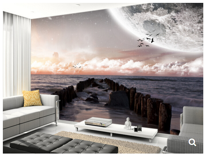 Custom natural scenery wallpaper,Planet landscape view from a beach,3D photo mural for living room restaurant bedroom wall PVC view from castle rock