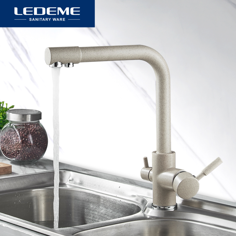 LEDEME Kitchen Faucet Dual Spout Drinking Water Filter Dot Brass Purifier Faucet Vessel Sink Mixer Tap
