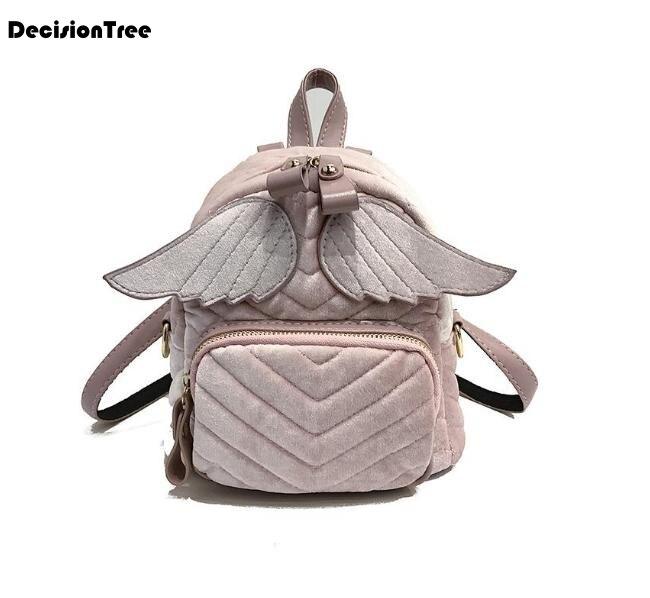 New Casual Fashion Women Velvet Backpack Brand Design Mini School Bag For Teenager Girls Female Backpack With Cute Wings L137