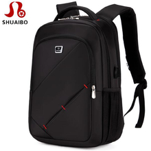 shuaibo Men Backpack Male Brand 14-16 Inch Laptop Backpack USB Charge Multifunctional waterproof Mochila Travel backpack women