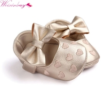 2017 PU Leather Baby Girl Shoes Moccasins Moccs Shoes Bow Fringe Soft Soled Non-slip Footwear Crib Shoes(China)