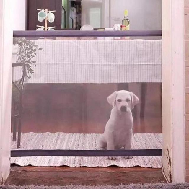 שחור קסם-שער נייד מתקפל בטיחות גדר נטו עבור חיות מחמד כלב חתול הפרדת נטו נייד מתקפל לחיות מחמד בטיחות Guar