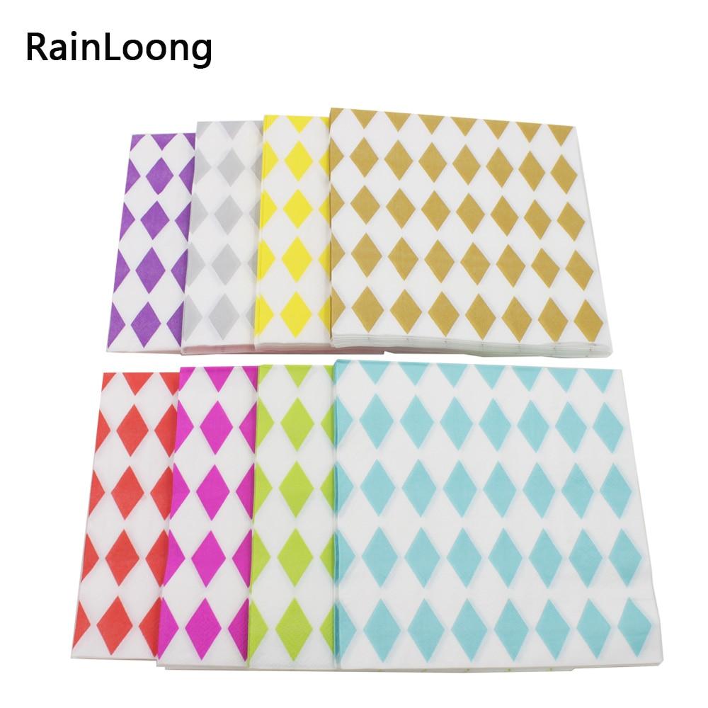 rainloong diamond decorative paper napkin geometry event party supplies tissue decoupage servilleta 33 - Decorative Paper Napkins