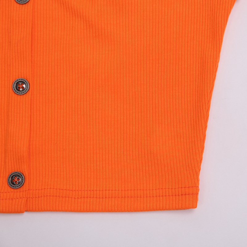 Cryptographic Fashion Outfits Bright Orange Women's Sets Buttons Long Sleeve Crop Tops Sexy Two Pieces Set Casual Bodycon Skirts 30