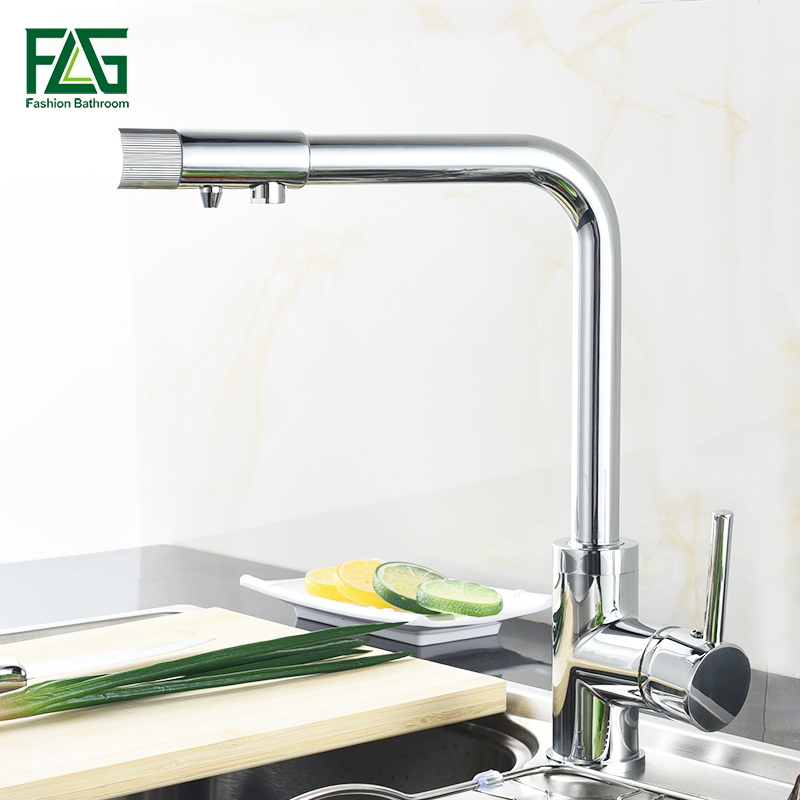 цена на FLG Kitchen Faucets Filter Brass Chrome Crane Kitchen Water Sink Faucet Filter Vegetables Kitchen Mixer Tap