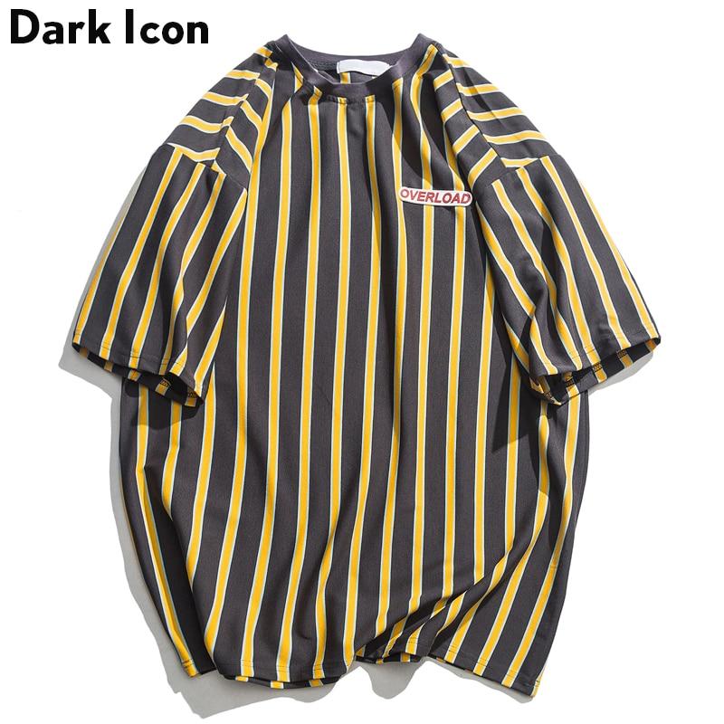 Dark Icon Vertical Stripe Oversized Mens Tshirts Short Sleeve 2019 Summer New Korean Style Loose T-shirt Men Male Tee Cotton