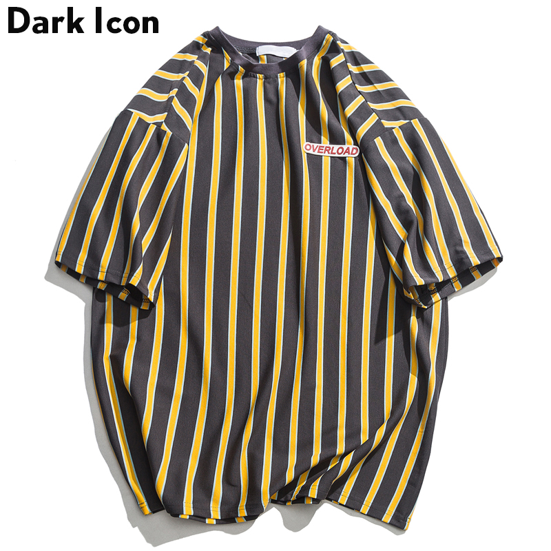 Dark Icon Vertical Stripe <font><b>Oversized</b></font> <font><b>Men's</b></font> Tshirts Short Sleeve 2019 Summer New <font><b>Korean</b></font> <font><b>Style</b></font> Loose T-<font><b>shirt</b></font> <font><b>Men</b></font> Male Tee Cotton image
