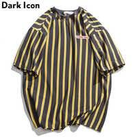 Dark Icon Vertikale Streifen Übergroßen männer T-shirts Kurzarm 2019 Sommer Neue Koreanische Stil Lose T-shirt Männer Männlichen T baumwolle
