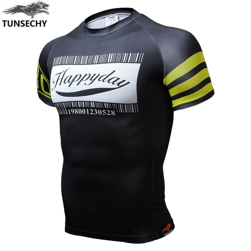 TUNSECHY 2017 fashion Brand man short sleeve T-shirt original design English alphabet 3D compression T-shirt Digital printing