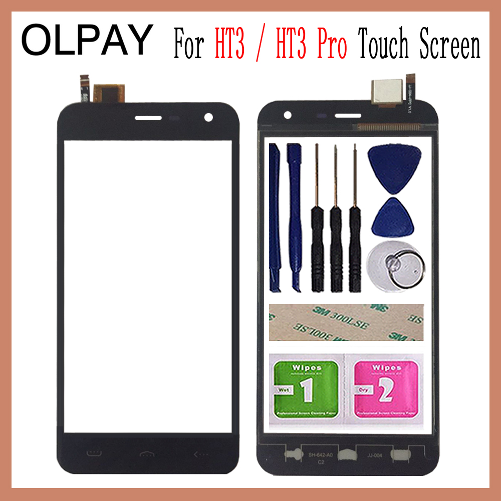 OLPAY 5.0''Phone Mobile For Homtom HT3 / HT3 Pro Touch Screen Touch Digitizer Panel Front Glass Tools Free Adhesive+wipes