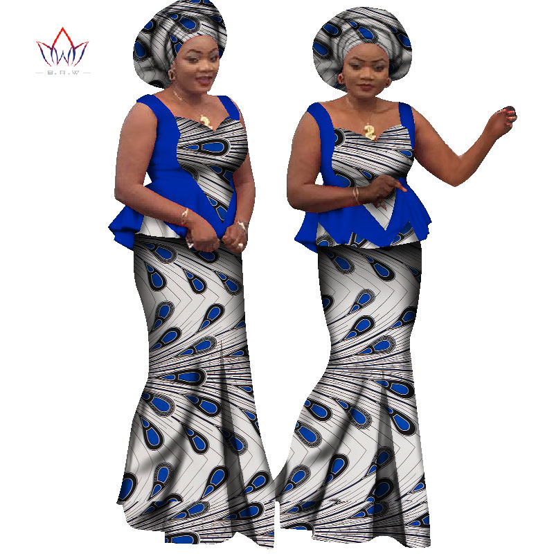2020 Bazin Riche African Print Crop Skirt And Top Dashiki Cotton SleevelesS Two Piece Set African Clothes For Women WY1161