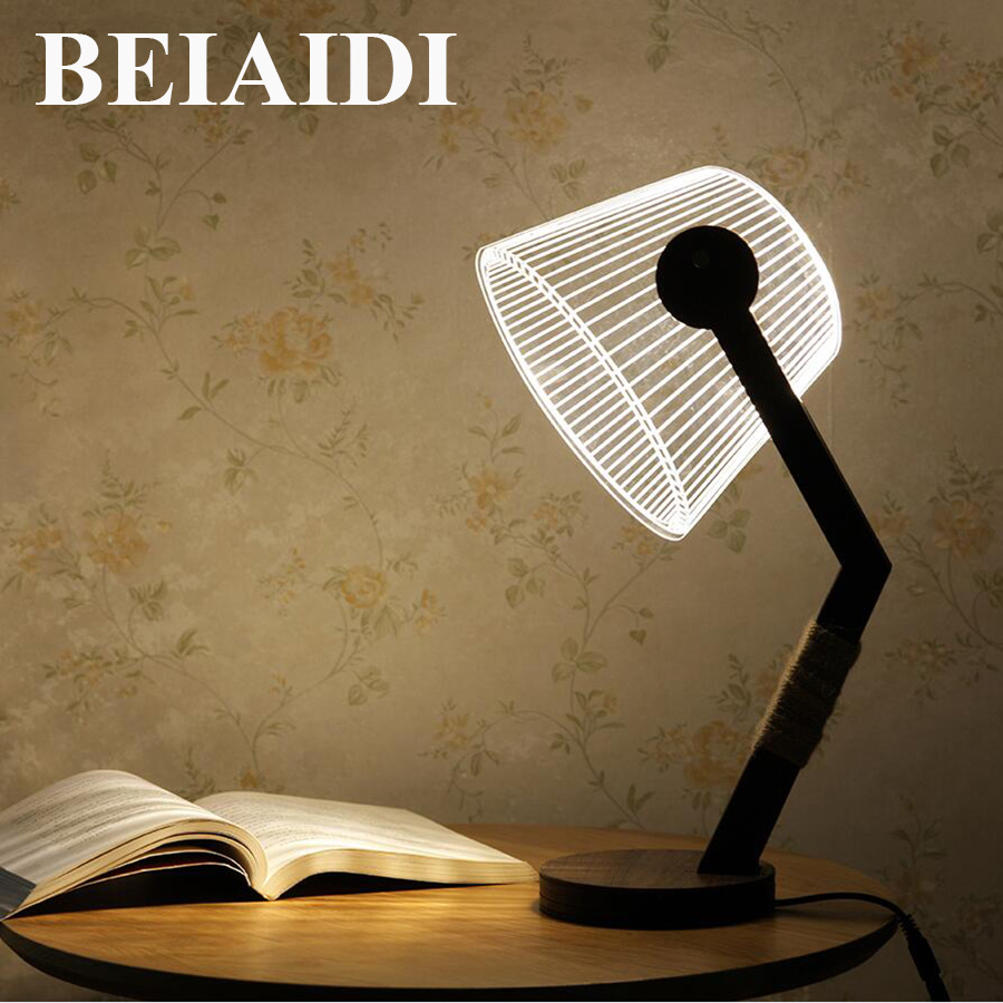 BEIAIDI Creative 3D Vision LED Table Lamp With Dimmer Wooden Atmosphere Led Night Light Retro Desk Table light For Children Gift thrisdar creative 3d vision led night light dimmable table lamp bedroon bedside wooden table desk lamp hotel gift night light