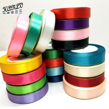 20mm  4 Rolls (100 yards) High Quality Gold Edge Solid Color Satin Ribbons For Gift Packing Belt Wedding Party Decorative Crafts