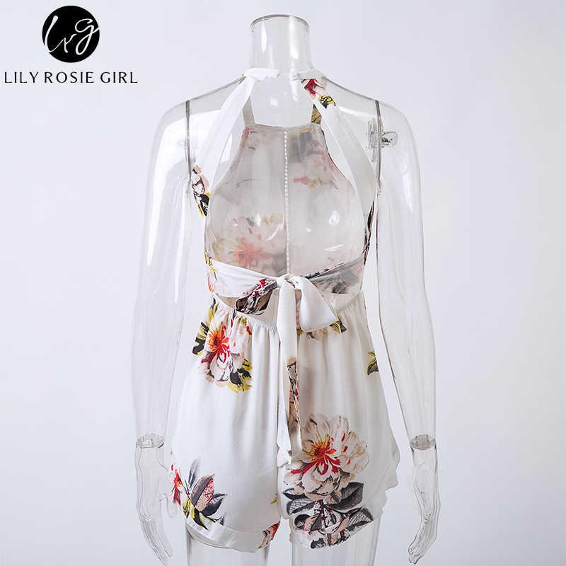 Лили Rosie девушка шлейки с открытыми плечами белый цветочный комбинезон Для женщин спинки Лук летние пляжные детские комбинезоны Boho комбинезоны