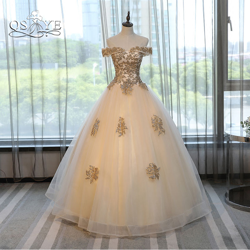 QSYYE 2018 Champange Long   Prom     Dresses   Ball Gown Elegant Off Shoulder Lace Tulle Formal Evening   Dress   Party Gown Custom