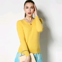 100 Pure Cashmere Sweater Women Ladies Basic Solid Goat Cashmere Pullover Female V Neck Long Sleeve