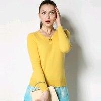 100% Pure кашемировый свитер Для женщин Дамы одноцветное козьей кашемировый пуловер Женский V Средства ухода за кожей шеи с длинным рукавом Каш