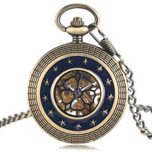Antique Mechanical Hand Wind Pocket Watch Men Women Dark Blue Star Hollow Circle Brozne Unisex Fob Clock With Necklace(China)