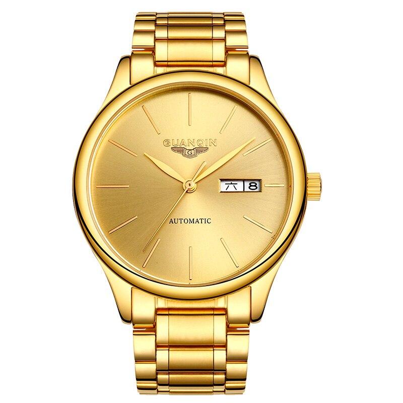 GUANQIN GJ16051 montres hommes marque de luxe Véritable personnalité mécanique en acier simple casual montre mince étanche montre en or
