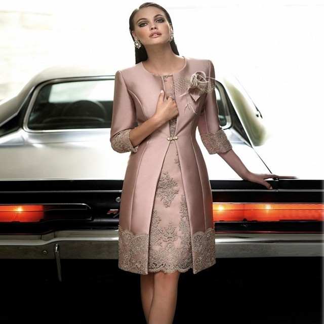 Elegant Knee Length Mother Of the bride Dresses With Jacket Three Quarter Sleeves Groom Mother Dresses Mother Party Gowns