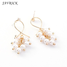 Personality Wild Lady Earrings Imitation Pearl Exaggerated Style Earring Geometry Hollow Fashion Women Ear Jewelry
