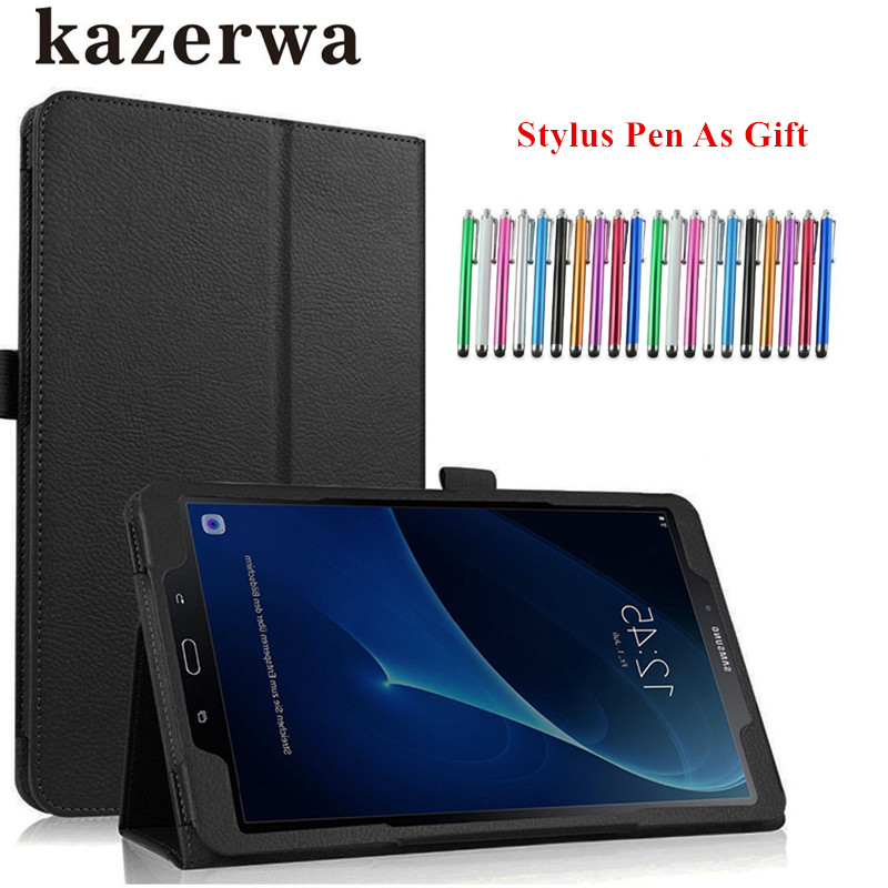 official photos 5e68f 3abc1 PU Leather Cover Case For Samsung Galaxy Tab A6 10.1 2016 SM-T580 SM-T585  Cover For Samsung Galaxy Tab A 10.1 Case +Pen Gift