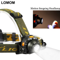LOMOM Motion Sensing Rechargeable Cree Led Headlamp 18650 Sensor Head Light Cycling Flashlight AAA