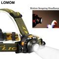 Lomom motion sensing cree led recarregável farol 18650 sensor head light de ciclismo lanterna aaa