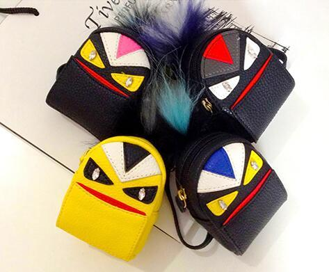 Hot Monster Mini backpack coin purse wallet keychain keyring PU leaher fur multifunction car bag pendant charm pom pom key ring