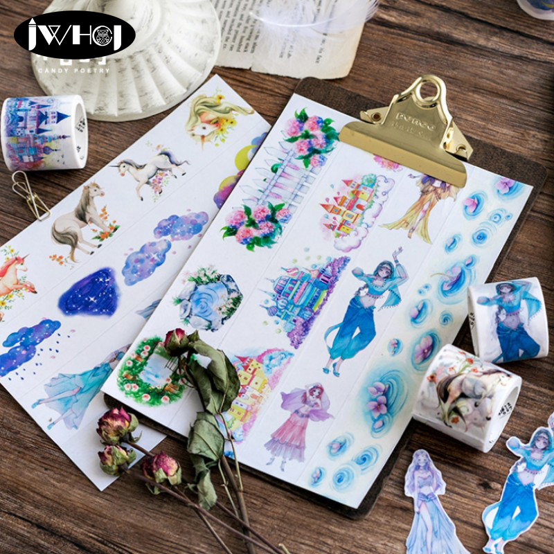 3.5/4cm*5m Beautiful Clouds Castle Girl Flowers Washi Tape Diy Scrapbooking Decoration Masking Tape Adhesive Tape Stationery