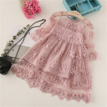 цена на Summer Girl Clothes Kids Dresses For Girls Lace Flower Dress Baby Girl Party Wedding Dress Children Girl Princess Dress Clothing