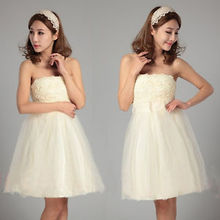 Details about Women Sexy Strapless Short Dress Ball Gown Party Prom Bridal Evening Formal Hot